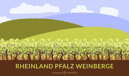 Diseño plano del viñedo Rheinland-Pfalz