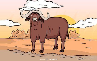 Desenho de ilustração de bisonte americano