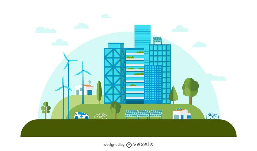 Diseño de estilo plano de ciudad verde