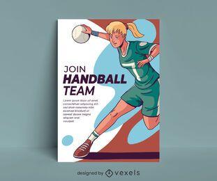 Design de cartaz de equipe de handebol