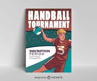 Diseño de cartel de torneo de balonmano.