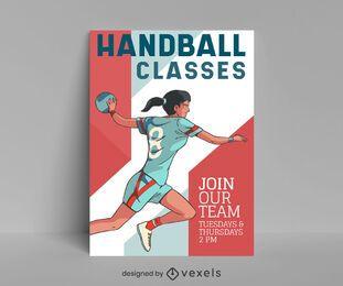 Design de cartaz de aulas de handebol