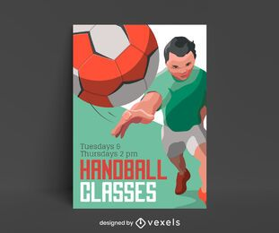 Design de cartaz de aula de handebol