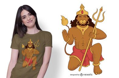 Diseño de camiseta de Lord Hanuman Illustration