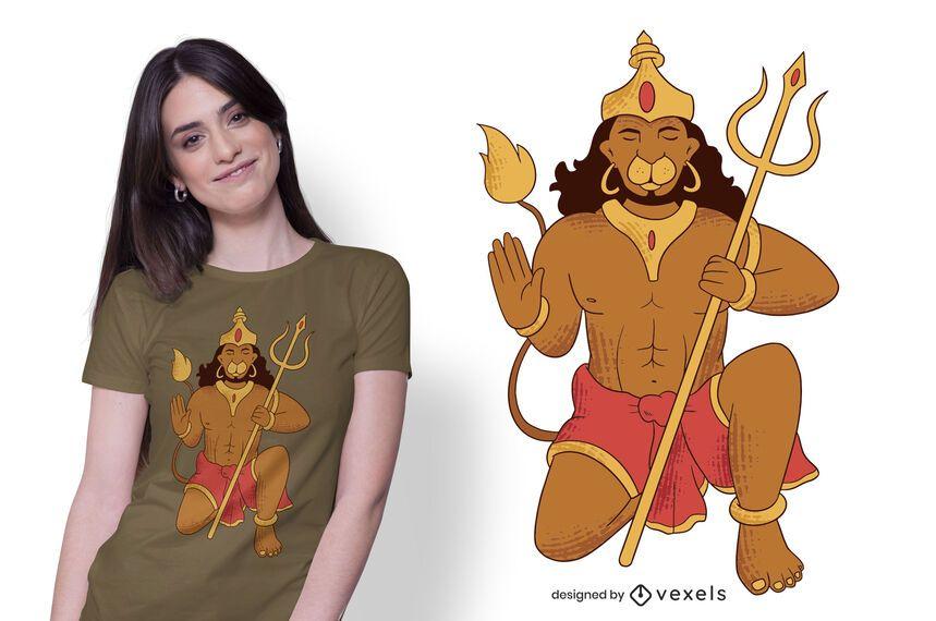 Design do t-shirt da ilustração do senhor Hanuman