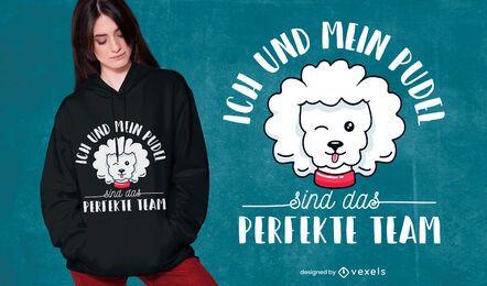 Design de t-shirt com citação de alemão Poodle
