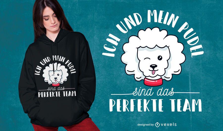 Design de t-shirt alemão citação de poodle