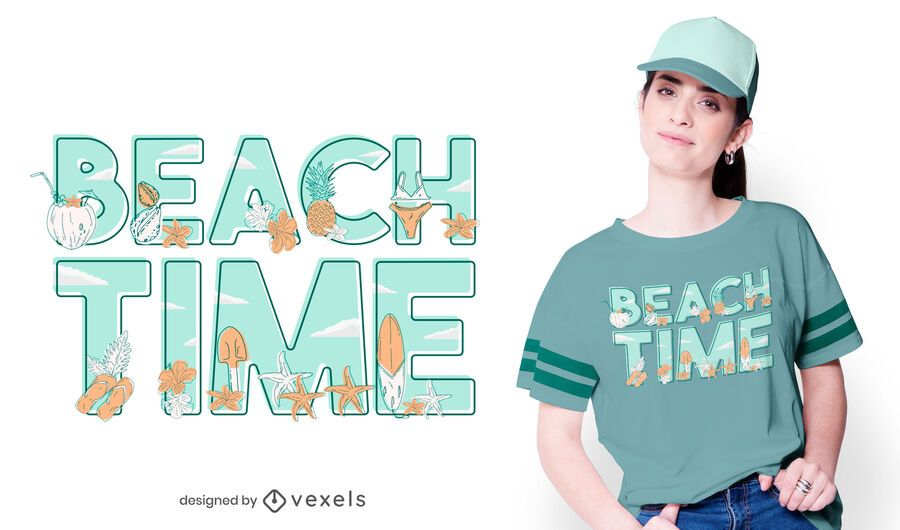 Beach time t-shirt design
