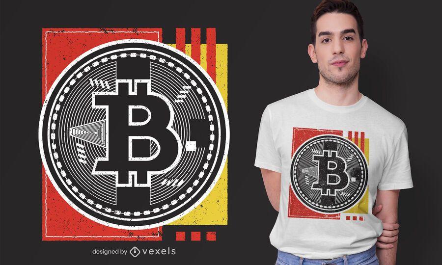 Projeto abstrato do t-shirt de Bitcoin