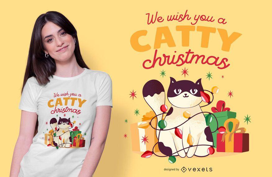Catty christmas t-shirt design