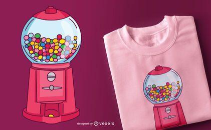 Diseño de camiseta de máquina de chicles