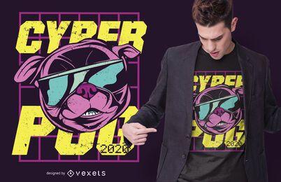 Diseño de camiseta de cyber pug