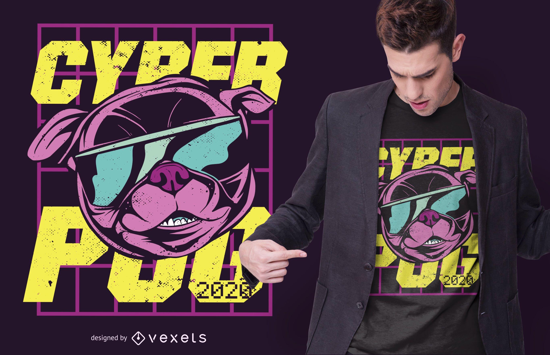 Cyber pug t-shirt design