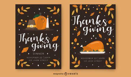 Conjunto de modelo de convite de ação de Graças