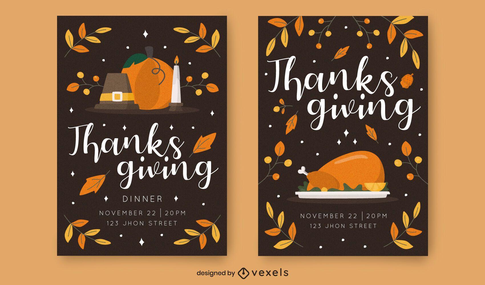 Conjunto de plantillas de invitación de acción de gracias