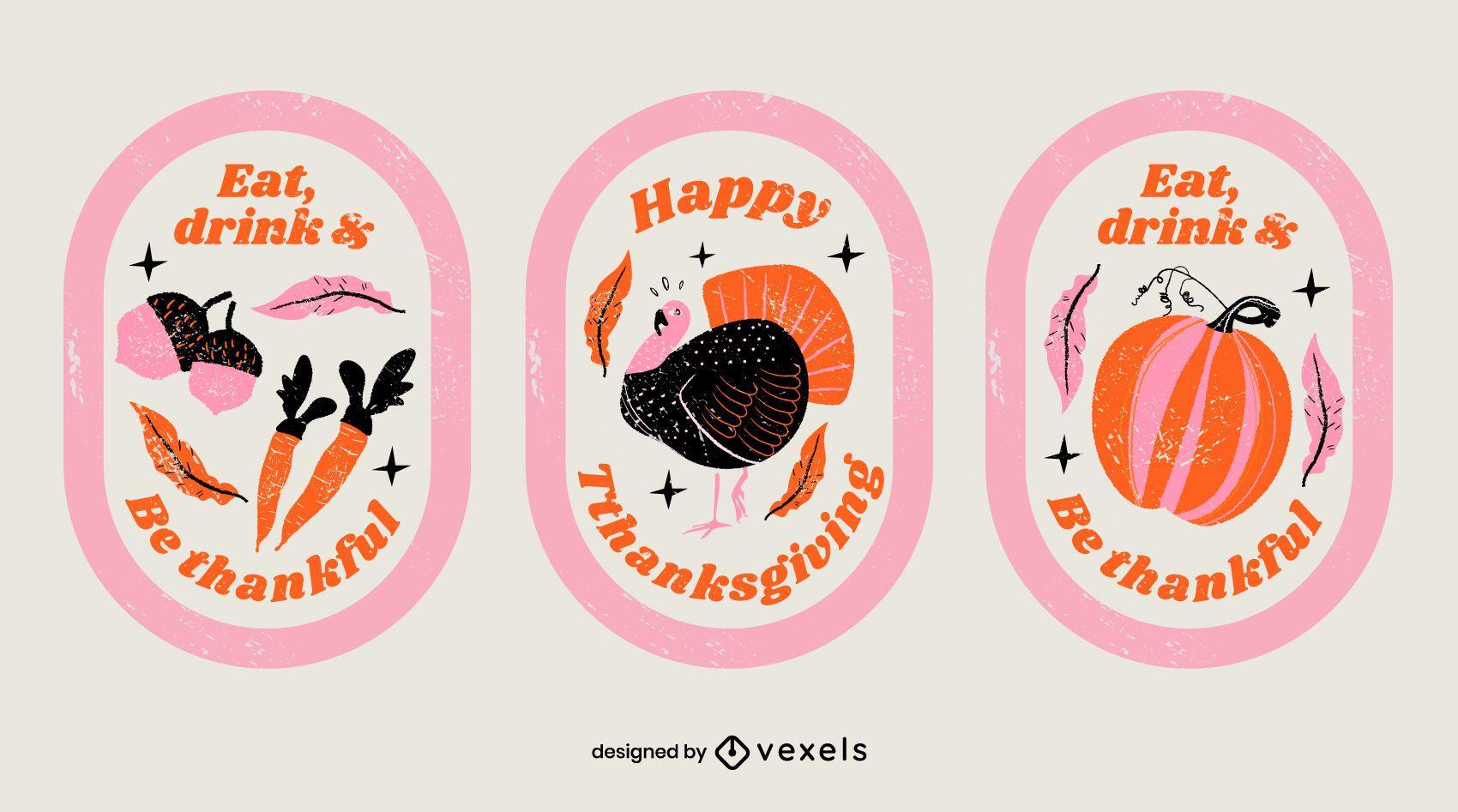Thanksgiving badge set