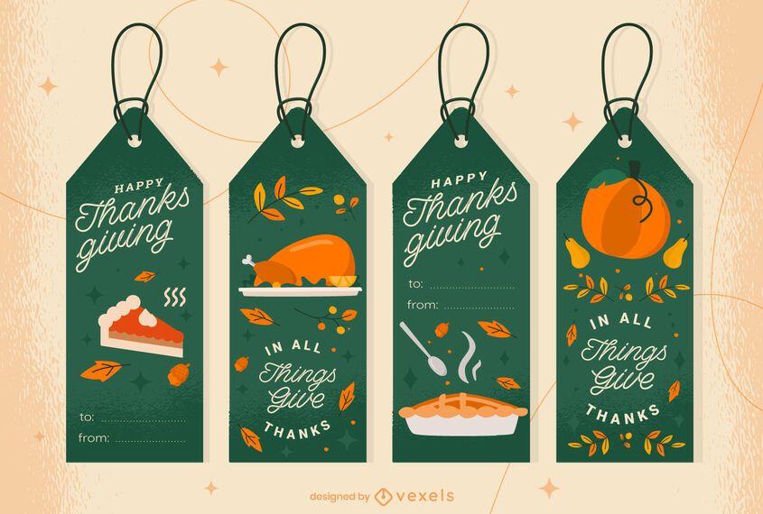 Thanksgiving gift tags set