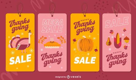 Thanksgiving sale tags set