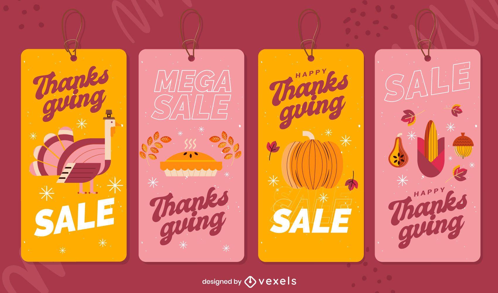 Conjunto de etiquetas de venta de acción de gracias
