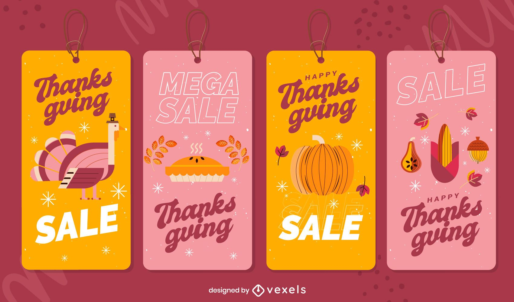 Thanksgiving sale tags set
