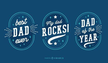 Conjunto de emblemas do dia dos pais
