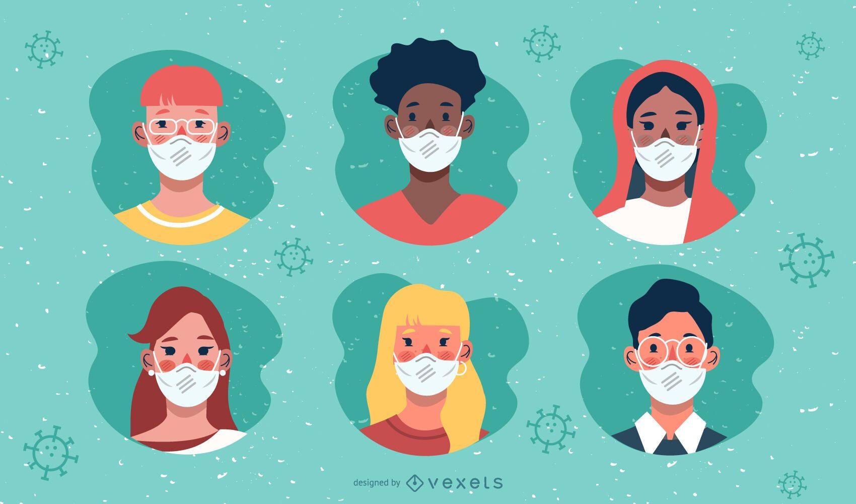 Paquete de diseño de personajes de Coronavirus