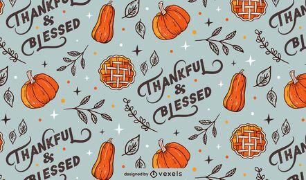 Diseño de patrón de letras de acción de gracias