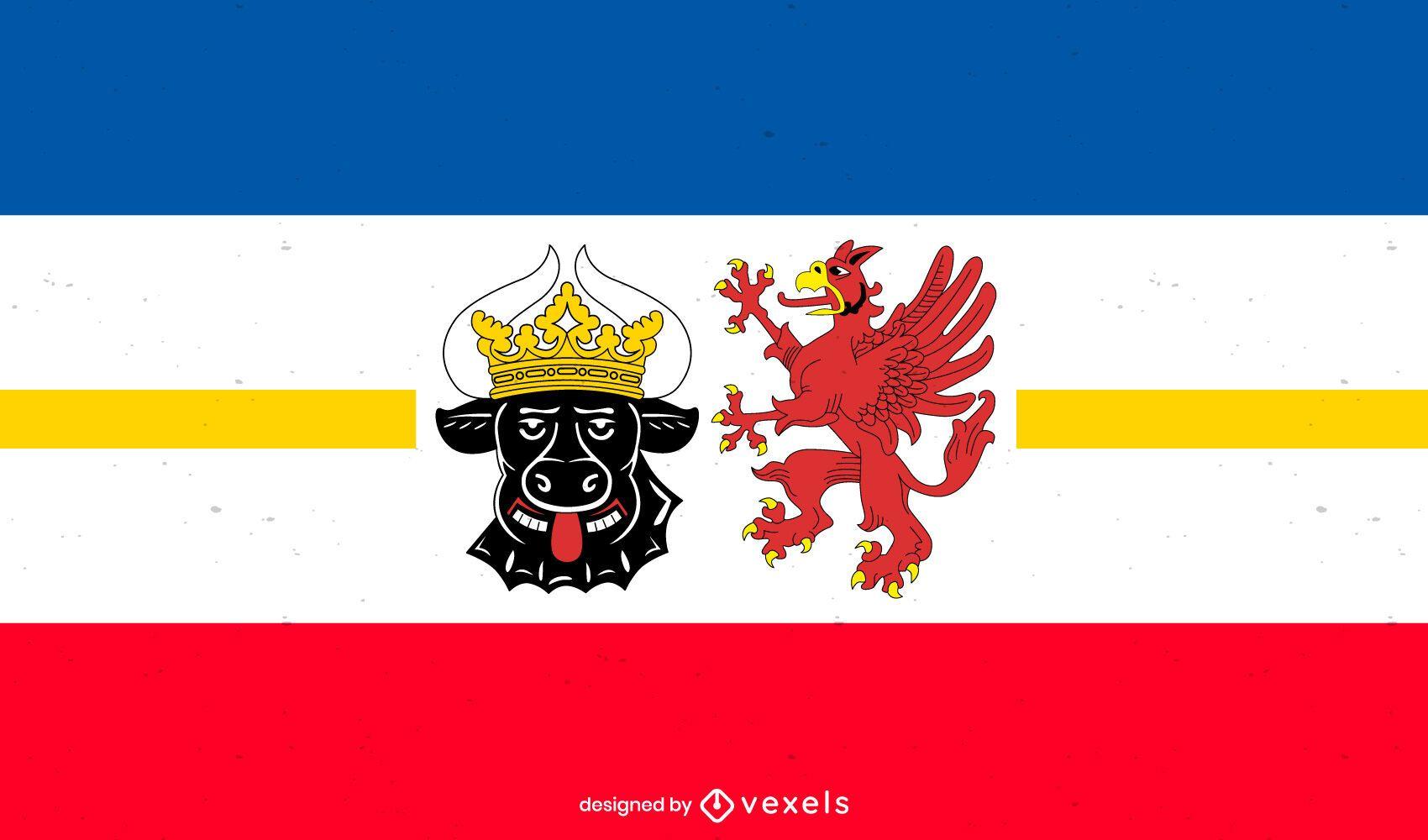 Desenho da bandeira do estado de Mecklenburg-Vorpommern