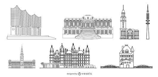 Paquete de diseño de trazo histórico alemán