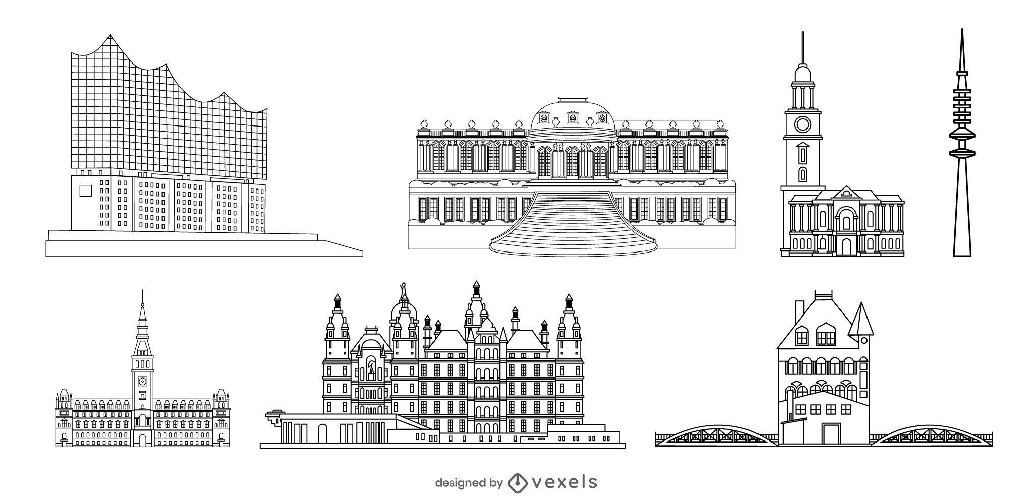 German Landmark Stroke Design Pack