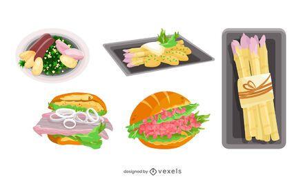 Pacote de ilustração de comida alemã