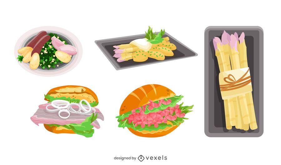 Paquete de ilustración de comida alemana