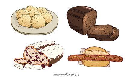 Conjunto de ilustração de comida alemã