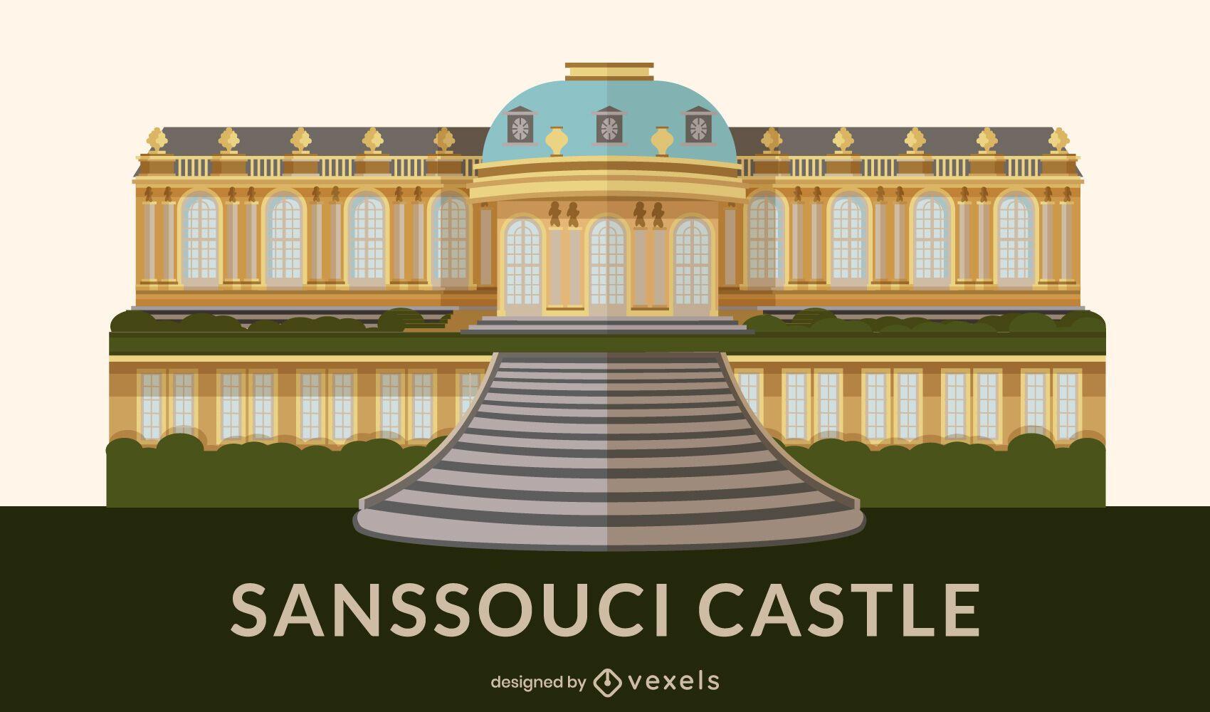 Sanssouci Palace Flat Design Landmark