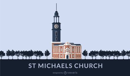 St. Michael's Church Flat Design Landmark