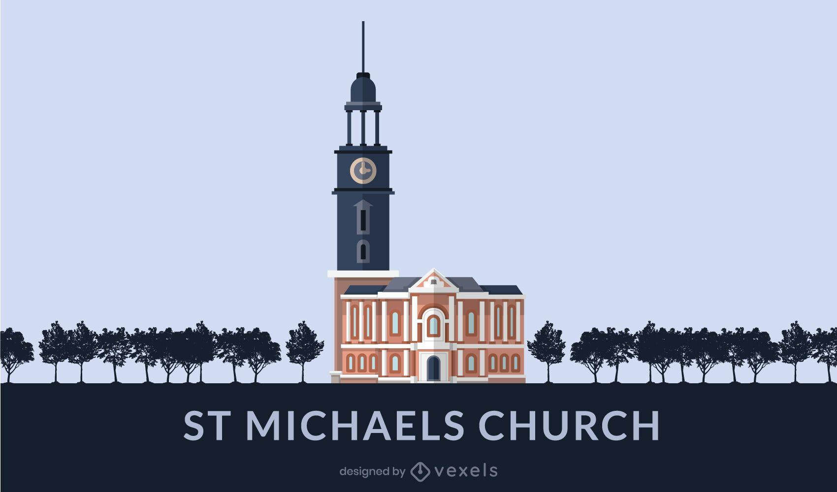 St. Michael's Church Flat Design Landmark
