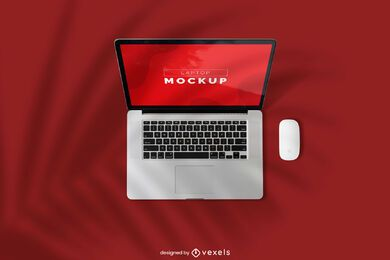 Laptop and mouse mockup design