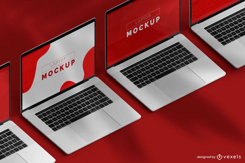 Laptop computer mockup set