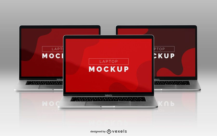 Laptop mockup design set