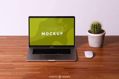 Laptop desk mockup composition