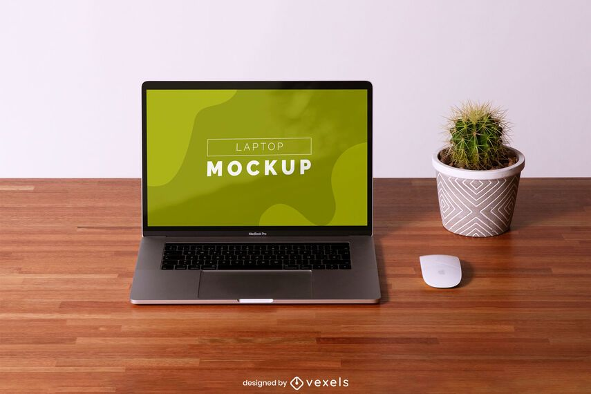 Laptop desk mockup composition