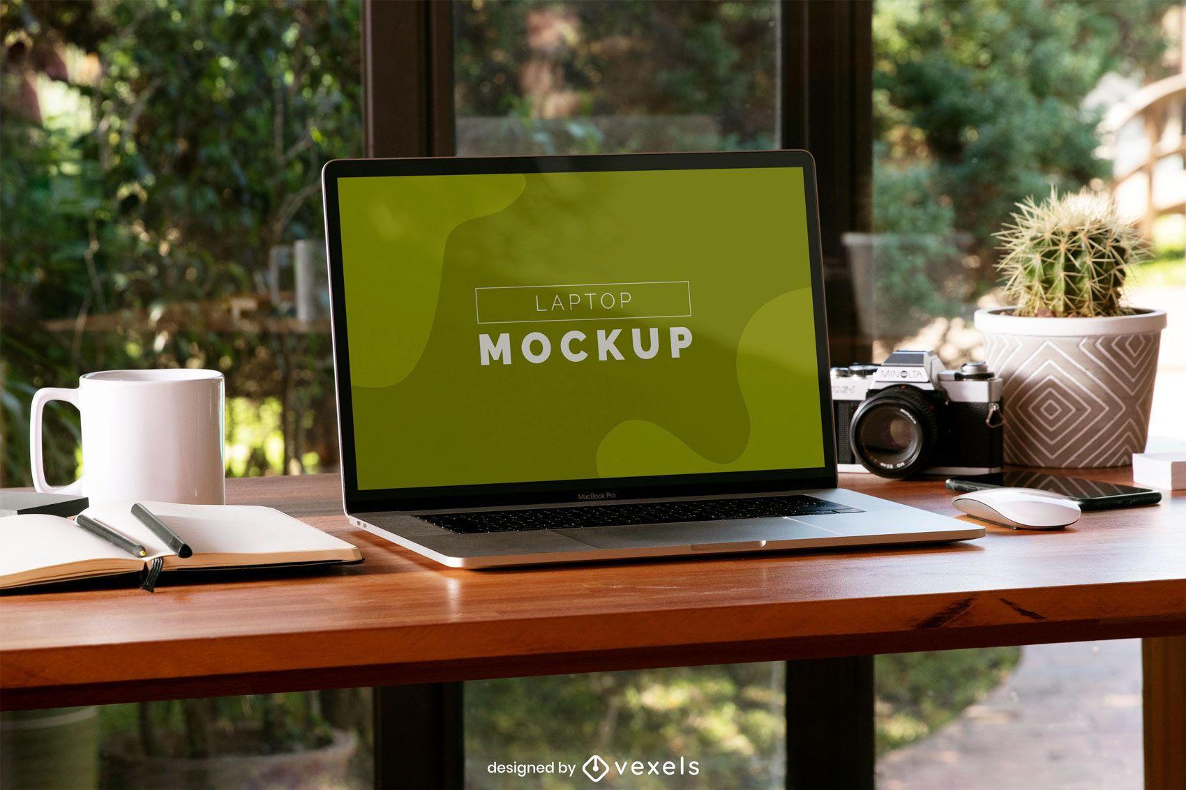 Desk laptop mockup composition