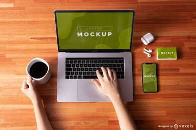 Laptop phone mockup composition