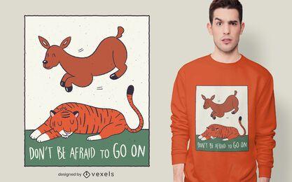 Desenho de camiseta com citação de tigre cervo