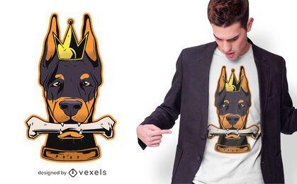 Design de t-shirt do rei Dobermann