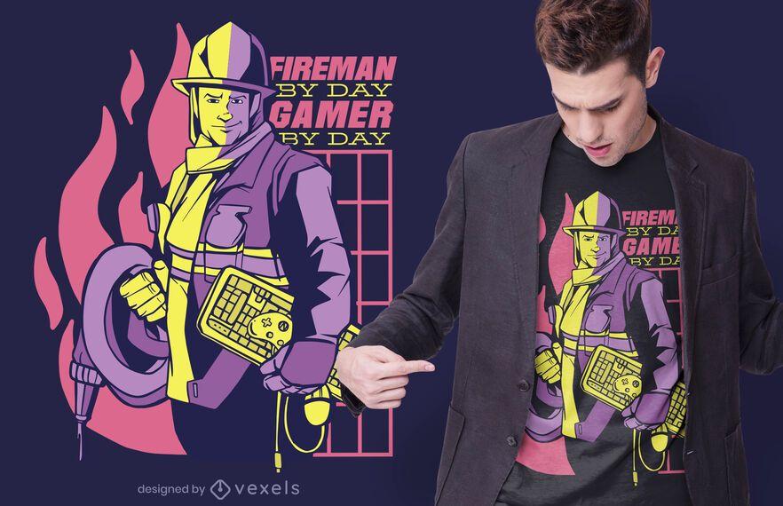 Bombeiro por dia design de t-shirt