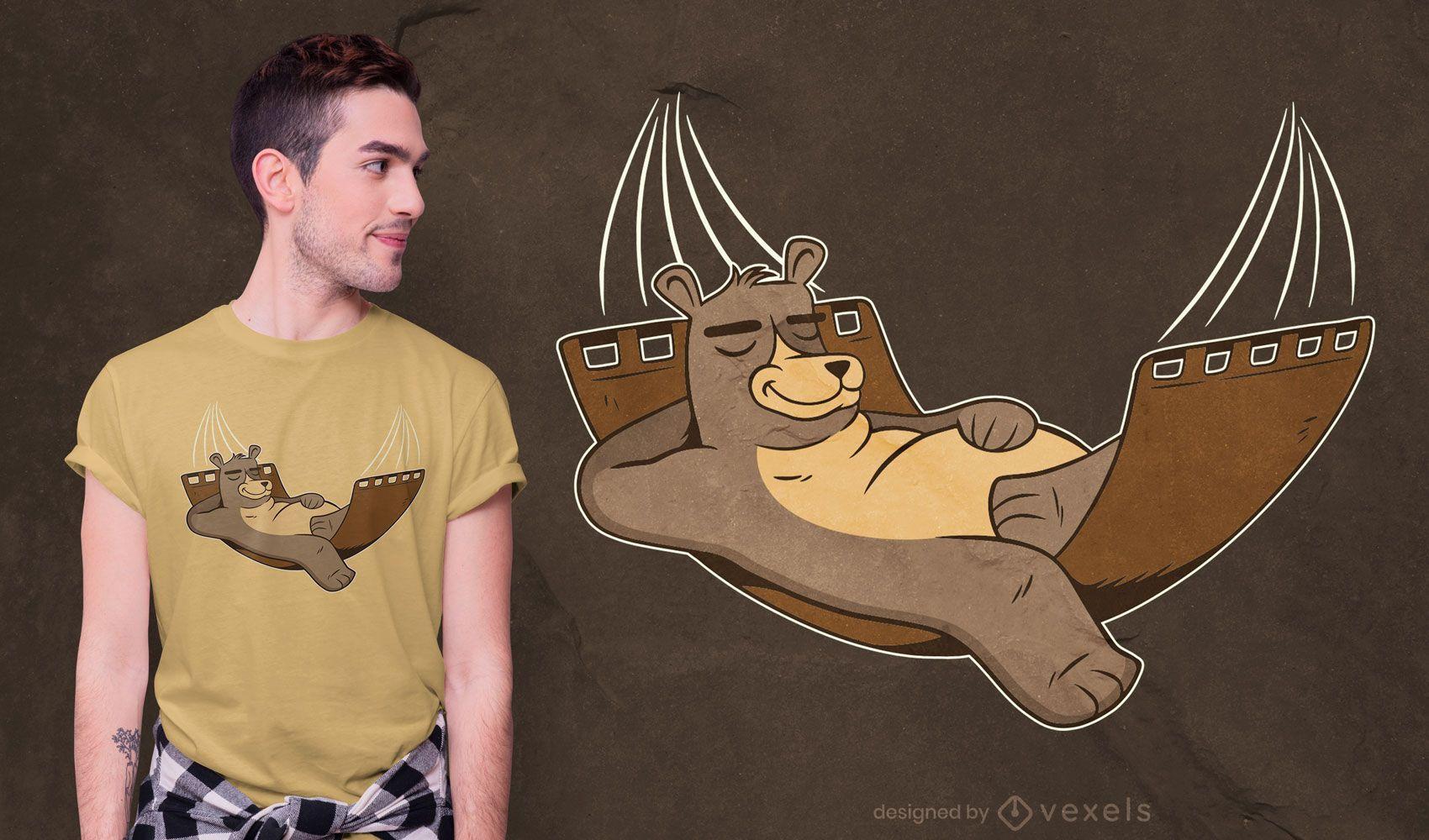 Diseño de camiseta de oso relajado