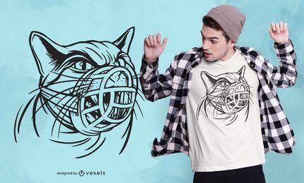 Diseño de camiseta de hocico de gato
