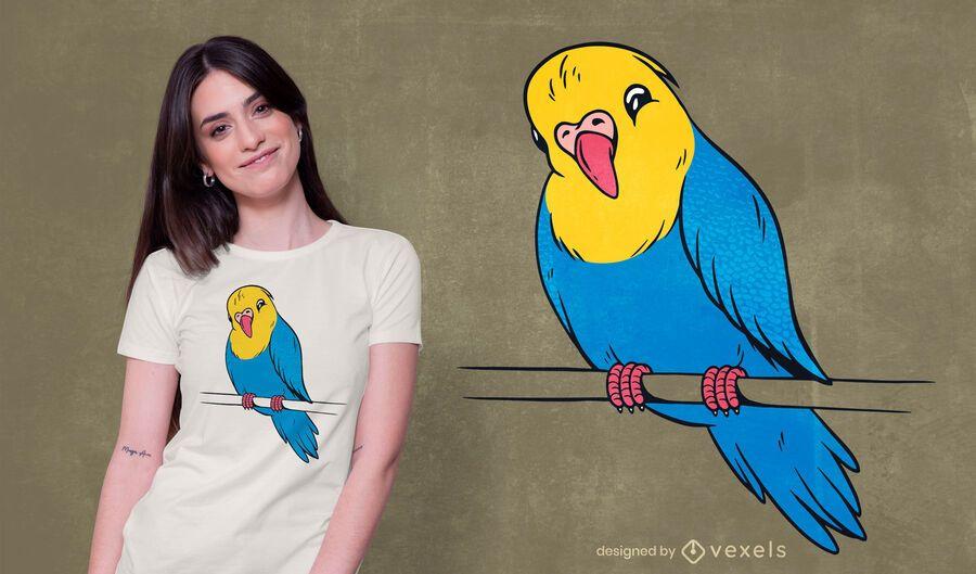 Diseño lindo de la camiseta del pájaro budgie