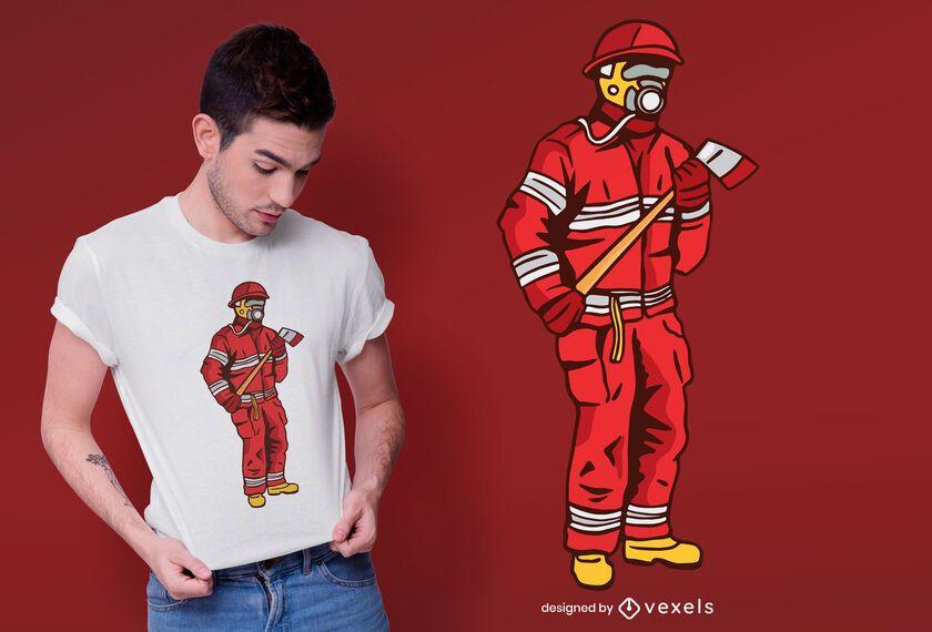 Diseño de camiseta de bombero masculino